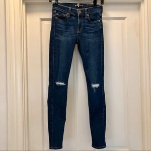 7FAM The Ankle Skinny, Size 24 w/ Distressing